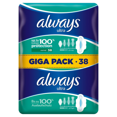 Always Ultra Pads Normal with Wings Pack of 3 x 38 Pieces)