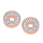 J Jaz Rose Gold on Silver Circle of Life in Baguettes and Round Cz Sud Earrings