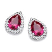 J Jaz Sterling Silver Ruby Red & Micro Pave Cz Teardrop Stud Earrings Hallmarked