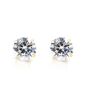 Art and Molly Women's 14K Yellow Gold Cubic Zirconia Stud Earrings With Screw Backs
