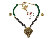 Mogul Interior Womens Choker Necklace- Ganesha Pendant Vintage Retro Style Necklaces Jewellery, Gift Idea Green