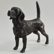 Beagle Standing Small Cold Cast Bronze Statue Sculpture Dog Pets Gift Idea H9cm