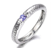 Tanzanite 925 Sterling Silver Hammered Band Tail Ring Natural Gemstone - Size P