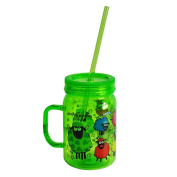 Wacky Woollies Designed Mason Jar With Straw, Green In Colour