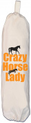 Crazy Horse Lady design - Carrier Bag Holder - Natural cotton plastic bag storage