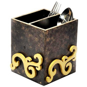 Wooden Cube 2-Section Dark Brown Cutlery Box with Decorative Motif on all Four Sides