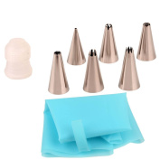 inkint 8pcs Stainless Steel Cake Decorating Tips Icing Nozzles Tips Sets with 6 Decorating Tips + 1 Reusable Silicone Decorating Piping Bag + 1 Coupler for Cupcakes, Muffins, Pastry, Chocolate, Cookies Decoration