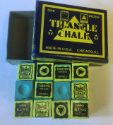 12 pcs World renowned Green Triangle Snooker Pool Chalk in genuine Triangle Box , not loose