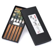 Kolylong 5 Pairs Set Japanese Natural Handmade Wood Chopsticks Gift Tableware Chopsticks
