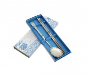 Chinese Style Flower Floral Pattern Stainless Steel Chopsticks Spoon Set Cutlery Tableware Flatware Chopsticks Spoon With Box