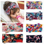 BESTIM INCUK 6-Pack Assorted-Colour Baby Girls Toddler Kids Bunny Rabbit Bow Knot Turban Headband Hairband Headwrap Headwear for Photography Props,Costume,Party