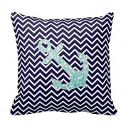 Lovest Unique Aqua And Navy Nautical Glitter Sparkles Anchor Throw Pillows Best Pillowcase Custom Zip Throw Pillow Case Cover