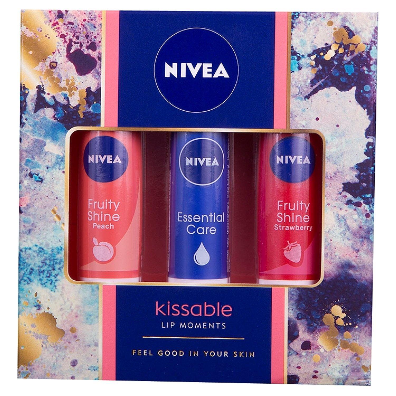 Nivea Kissable Lip Moments Gift Set For Women 3 Piece By Balm Strawberry Shine Shop Online Beauty In Australia
