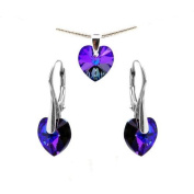 Sterling Silver Made with Crystals Purple Blue Heart Pendant NECKLACE Earrings Jewellery Set