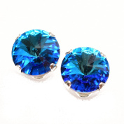 pewterhooter 925 Sterling Silver stud earrings expertly made with sparkling Bermuda Blue crystal from ® for Women.