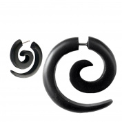 Chic-Net Tribal Earring Sono Wood Spiral in black Edelstahlbügel- Fake Piercing