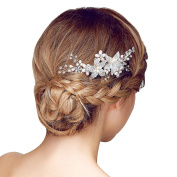 Happy Hours - 1 Pc Brides Pearls Clear Crystal Decor Side Combs / Bridesmaid Flower Design Hairclip for Wedding Prom Masquerade