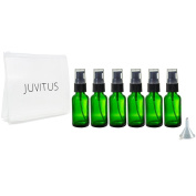 Green Glass Boston Round Treatment Pump Bottle - 30ml (6 Pack) + Clear Travel Bag and Funnel