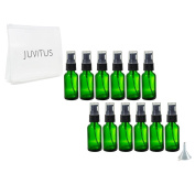 Green Glass Boston Round Treatment Pump Bottle - 30ml (12 Pack) + Clear Travel Bag and Funnel