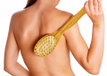 HOYOFO 2 in 1 Bamboo Body Brush for Massage Scrub Natural Boar Bristles Bath Brush Use Wet or Dry