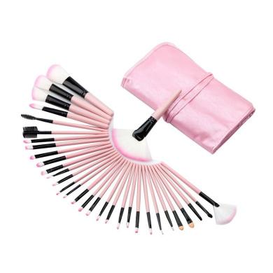 HP95(TM) 32PCS Mini Make Up Foundation Eyebrow Eyeliner Blush Cosmetic Concealer Brushes (Pink)