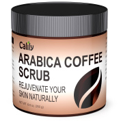 Calily8482; Premium 100% Natural Arabica Coffee Scrub 260ml - Achieve Smooth and Firm Skin - Deep Hydrating, Exfoliating and Cleansing - Helps Against Wrinkles, Cellulite, Stretch Marks, etc.