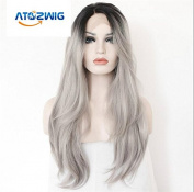 ATOZWIG@2 Tones Synthetic Lace Front Wig Ombre Hand Tied Straight Silver Wig Dark Roots Heat Resistant Fibre Hair