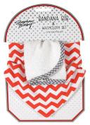 Stephan Baby Bandana Bib and Washcloth Set, Red and White Chevron