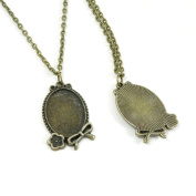 2 Pieces Antique Bronze Fashion Jewellery Making Charms Necklace Costume Sweater Long Chain Pendant XL-GT00906 Oval Cabochon Base Blank 25x18mm