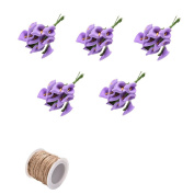 5 Bunches Foam Calla Artificial Flower Foam Calla Lily for DIY Wreath Gift Box Package Craft Wedding Corsage Buttonholes Cake with 1 Pcs Burlap Rope by Crqes