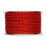 FloristryWarehouse Red 1.3cm Fabric Ribbon with Natural Linen Lockstitch Design x 10m Roll