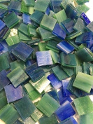 1.3cm Deep Green Blue Stained Glass Mosaic Tiles