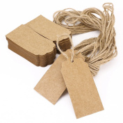 Astra shop 100pcs Oblong Kraft Paper Tags with 10 Metres Long Jute Twine | Christmas Gift Tags| Wedding Brown Rectangle Kraft Hang Tags| Bonbonniere Favour Gift Tags| Crafts Price Tags Labels