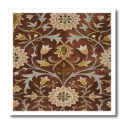 Florene Arts And Craft William Morris Designs - Image of William Morris Little Flower In Brown Olive And Gold - 8x8 Iron on Heat Transfer for White Material