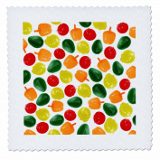 Mark Grace PATTERN ART - fruit and veggies - Avocado, tomato, onion and orange pepper pattern on white background - 30cm x 30cm quilt square