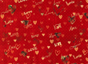 Love Hearts Rolled Gift Wrap Paper 2 Full Sheets 70cm x 100cm