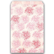 100 Pink Flower Print on White Flat Merchandise or Favour Bags 15cm x 23cm