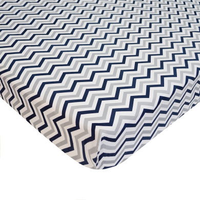 American Baby Company Cotton Percale Fitted Portable Mini Crib Sheet, Navy Zigzag