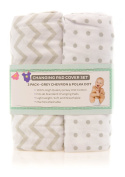 Changing Pad Cover Set | Cradle Sheet 100% Cotton Jersey Knit Unisex for Baby Boy and Baby Girl - 2 Pack Grey and White Chevron and Polka Dots by Ely's & Co