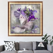 LAY'S 5D Diamond Painting Cat with Purple Hat Cross Stitch Embroidery Kit for Bedroom Wall Decoration
