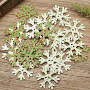 20pcs Wooden Christmas Snowflake Buttons DIY Sewing Baby Dress Clothes Decorative Button -Locsto