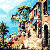 CANVAS Oil DIY Painting, Shayson Paint By Number Kit- Coast Cafe Shop 16 50cm