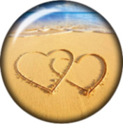 Snap button 2 hearts in the sand beach 18mm Cabochon chunk charm