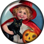 Snap button Girl Witch Black Cat Pumpkin 18mm Cabochon chunk charm