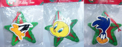 1996 Looney Tunes in Star Wreath Wooden Ornament 15cm Set of 3