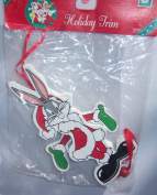 1996 Looney Tunes Bugs Bunny Wooden Pull String Christmas Ornament 15cm