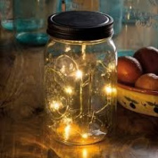 Wide Mouth Mason Jar Light - Micro String Lights - Gift Idea - Battery Operated - Indoor Use