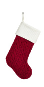 Fennco Styles Cable Knit Classic Striped Design Holiday Christmas Stocking - 22cm x 48cm - 3 Styles