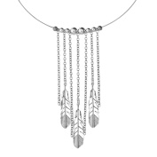 American West Sterling Silver Chain Feather Choker Necklace
