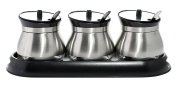 JustNile Stylish Stainless Steel Seasoning/Condiments/Spice Containers with Flip Top Lids, Set of 3 with Holder Caddy & Spoons - Black Lid Top